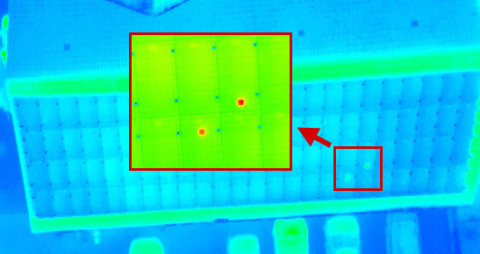 Thermografie Infrarotmessung Drohne Hotspots in PV-Anlage