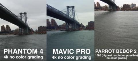 bild vergleich video aufnahme 4k dji phantom 4 dji mavic pro kamera 1080 parrot bebop 2 nebeneinander