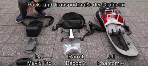bild vergleich video aufnahme 4k dji phantom 4 dji mavic pro kamera 1080 parrot bebop 2 packmasse