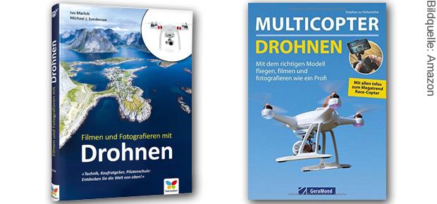 Drohnen fliegen lernen: in diesen Büchern stecken Definitionen, Erklärungen, eine sog. Pilotenschule und Anleitungen sowie Ratgeber zur Nutzung von Multicoptern. Ideal für Um- und Einsteiger.