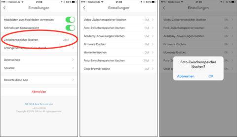 """In der DJI GO App ruft man sein Profil auf und findet dort den Punkt """"Zwischenspeicher löschen"""" über den man alle Caches leeren kann."""