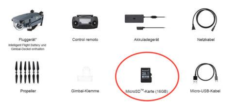 Im Lieferumfang der DJI Mavic Pro ist eine Lexar SD-Karte Class 10 mit UHS-I U1 Standard. Ich würde eher was größeres und schnelleres empfehlen, damit die 4K Videos keine Ruckler aufweisen.