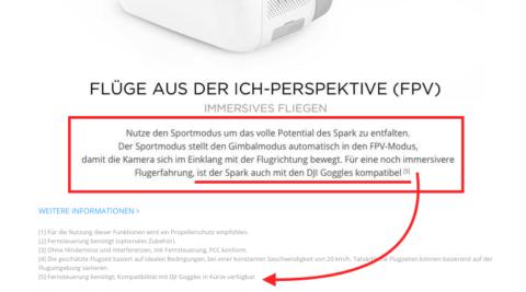 Auf der Webseite wirbt DJI definitiv damit, dass man in absehbarer Zeit die DJI Spark auch mit den DJI Goggles nutzen kann. Ich denke, das läßt auf ein baldiges Firmware- und Software-Update hoffen.