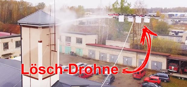 Lösch-Drohne für die Feuerwehr, Feuer bekämpfen mit Quadrocopter