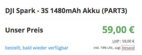 """Aktueller Auszug aus einem Online-Shop: DJI Spark Akku """"bald wieder lieferbar""""."""