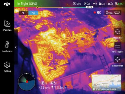 Die Verwendung der FLIR TAU Kamera mit dem XT Gimbal ist extrem komfortabel. Hier ein Screenshot aus der DJI Go App, mit der man die Drohne steuert.